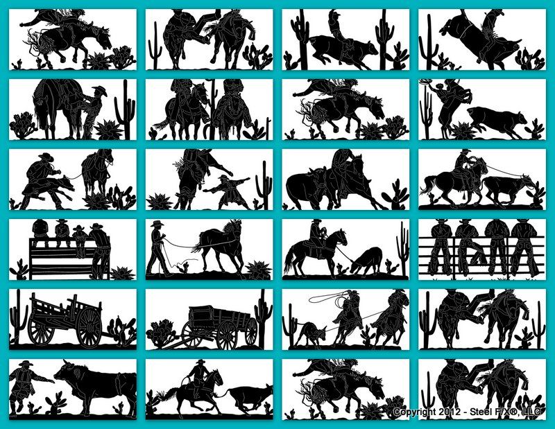 cowboy rodeo scenes steel silhouettes