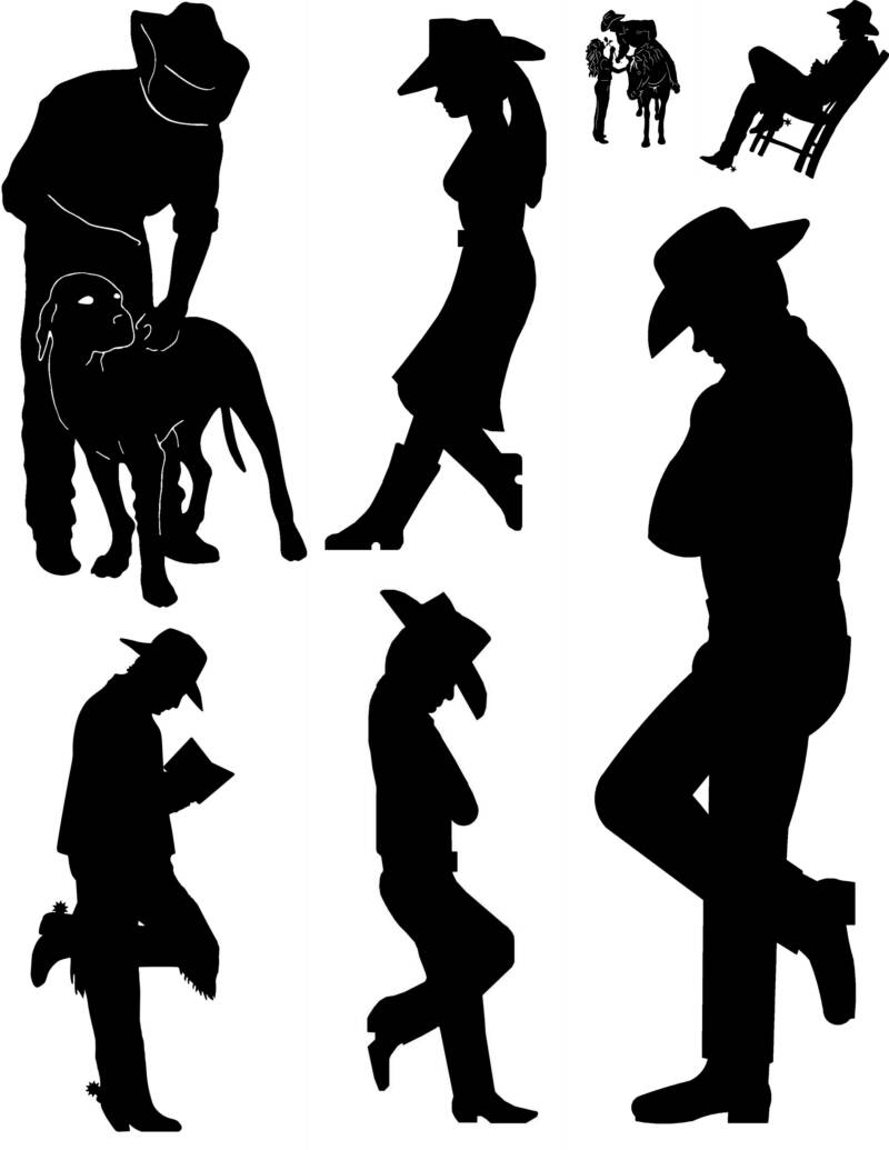 Cowboy profile silhouette clip art - photo#12