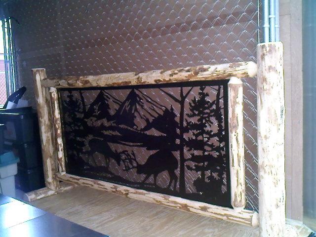 Custom Steel Insert For Log Cabin Balcony Railing